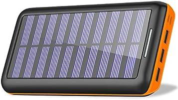 RLERON モバイルバッテリー 24000mAh 太陽光 ソーラー充電器MicroとLightning入力ポート+3出力(2.4A) PSE認証