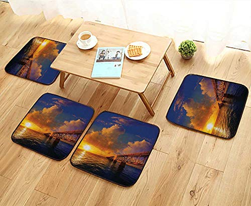 Printsonne Home Chair Set Florida Keys Old Bridge Sunat Bahia Hda Park in USA Cloudscape Machine-Washable W21.5 x L21.5/4PCS Set
