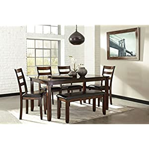 Ashley Furniture Signature Design – Coviar Dining Room Table and Chairs with Bench (Set of 6) – Brown