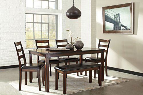 Ashley Furniture Signature Design - Coviar Dining Room Table and Chairs with Bench (Set of 6) - (Casual Contemporary Dining Room)