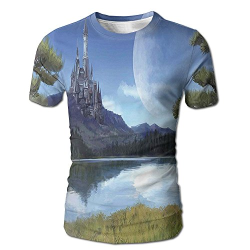 Kooiico Men's Fantasy Moon Surreal Scene With Riverside Lake Forest And Medieval Castle On Hill Art Fashion Tshirts White S -
