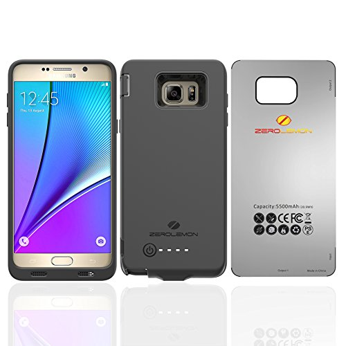 Price comparison product image Galaxy Note 5 Battery Case, Zerolemon [PowerSavior Series] 5500mah Extended Slim Battery Charger Protection Case for Samsung Galaxy Note 5