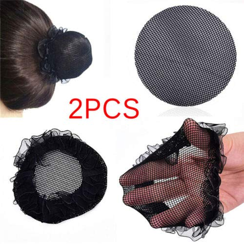 FlyerShop(TM) 2X Women Ballet Dance Skating Snoods Hair Net Bun Cover Black Nylon Material LY