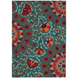 "Nourison Suzani (SUZ02) Teal Rectangle Area Rug, 5-Feet 3-Inches by 7-Feet 5-Inches (5'3"" x 7'5"")"