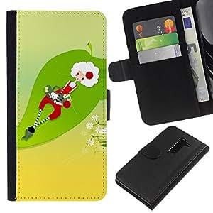 A-type (Funny Santa abstracto) Colorida Impresión Funda Cuero Monedero Caja Bolsa Cubierta Caja Piel Card Slots Para LG G2 D800