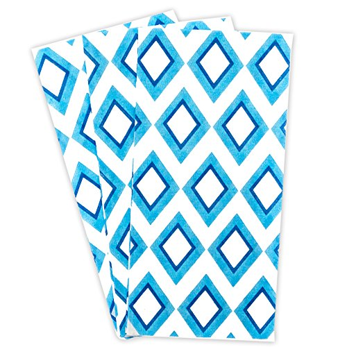 Blue Diamond Cloth Like Guest Towels Napkins, 1/6 Fold, 17 Inch by 12 Inch, 100 Units Per - Napkins Blue Guest