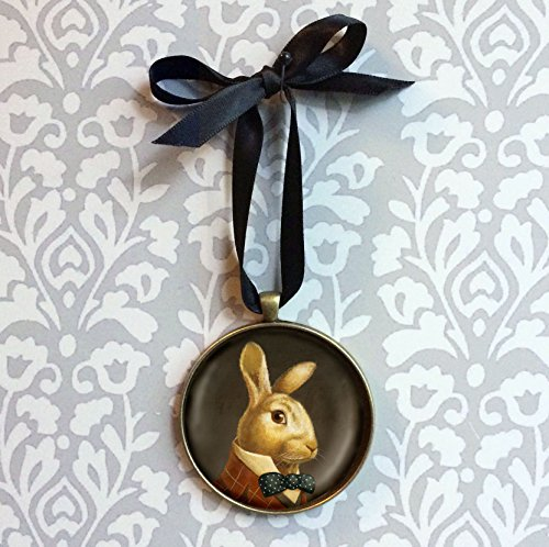 Rabbit Ornament - Christmas Ornament - Rabbit Portrait Ornament - White Rabbit - Portrait Miniature - Victorian - March Hare - Alice in Wonderland - Easter Bunny