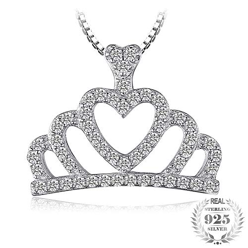 GSYDSZ Crown 0.25ct Cubic Zirconia Pendant Necklace 100% Real 925 Sterling Silver 45cm Chain Necklace for A Queen Gift