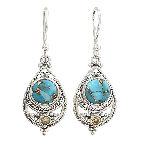 NOVICA Citrine and Composite Turquoise .925 Sterling Silver Dangle Earrings 'Blue Adoration'