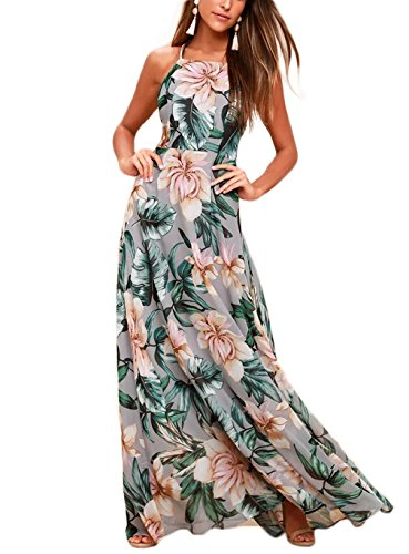 NERLEROLIAN Women's Sleeveless Halter Neck Sexy Floral Print Maxi Dress for Summer Graygreen-L by NERLEROLIAN