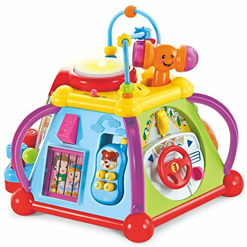 Educational Activity Baby Play Center Station With Lights And Sounds Includes Batteries - Learning And Discovery Musical Playmat Table or Floor Toy For Little Toddlers Babies Kids Children ()