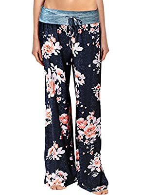 Arrisol Women's Stretchy Wide Leg Palazzo Lounge Pants (Large, Floral 6)