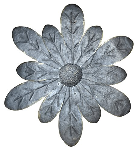 Red Co. Zinnia Dimensional Antique Tin Galvanized Metal Flower Petals Hanging Mounted Wall Décor Wreath, 16 - Gray Wreath