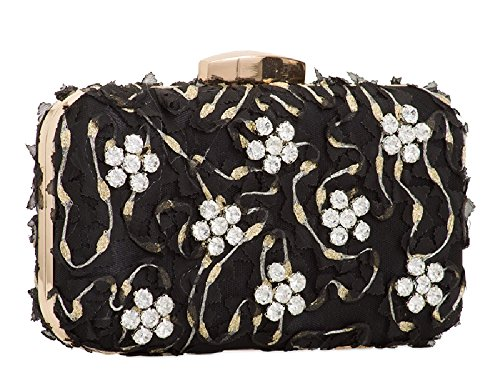 Box Women's KTL2112 Ivory Ladies Diamante Bag Daisy Handbag Evening Clutch Cocktail Satin OZ6EU