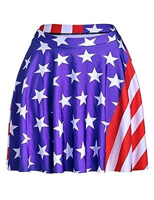 Dovia Womens American Flag Print Stretch A-line Flared Circle Skater Mini Skirt