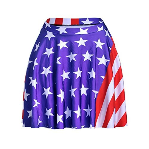 Nice Dovia Womens American Flag Print Stretch A-line Flared Circle Skater Mini Skirt for sale