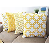 Howarmer Canvas Cotton Throw Pillows Cover for Couch Set of 4 Lemon Yellow Accent Pattern 18 X 18-inch by Howarmer