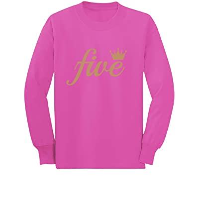Fifth Birthday Gift 5 Year Old Crown Toddler Kids Long Sleeve T Shirt