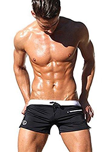 Anna & Eric European Style Unisex Men's Swim Boxer Brief Sport Shorts Trunks (L:Waistline:32-34