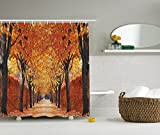Ambesonne Nature Shower Curtain by, Fall Road in Park Autumn Leaves Distance Perspective Foliage Forest Theme, Digital Print Polyester Fabric Bathroom Set, Orange Brown