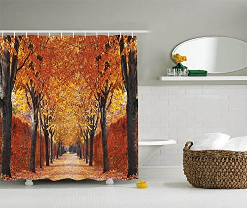 Nature Shower Curtain by Ambesonne, Fall Road in Park Autumn Leaves Distance Perspective Foliage Forest Theme, Digital Print Polyester Fabric Bathroom Set, Red Brown Orange Multicolored (Bath Rug Changes Color)