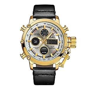 SW Watches Oulm Reloj para Hombre Analogico De Cuarzo,Reloj Digital De Doble Pantalla con Correa De Piel HP3811 Oro,Gold: Amazon.es: Deportes y aire libre