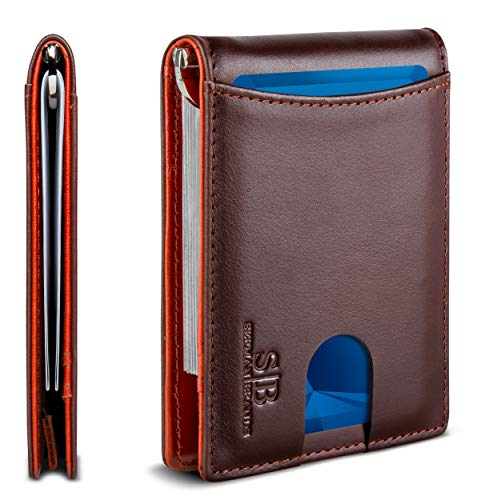 SERMAN BRANDS RFID Blocking Slim Bifold Genuine Leather Minimalist Front Pocket Wallets for Men with Money Clip Thin