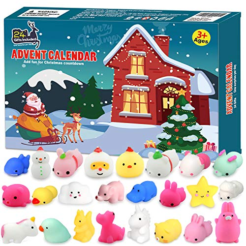 FLY2SKY Advent Calendar 2019 Christmas Countdown Calendar 24Pcs Mochi Squichy Toys Cute Animals Squichies Christmas Party Favors for Girls Boys Santas Snowman Unic0rn Dinos