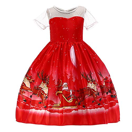 Price comparison product image Willsa Toddler Kids Baby Girl Santa Print Lace Princess Dress Christmas Outfits Clothes