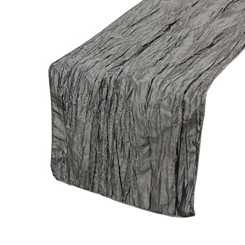 (Your Chair Covers - 14 x 108 inch Crinkle Taffeta Table Runner Dark Silver/Platinum, Crinkle Table Runner for Weddings, Events, Hotels and Catering Services)
