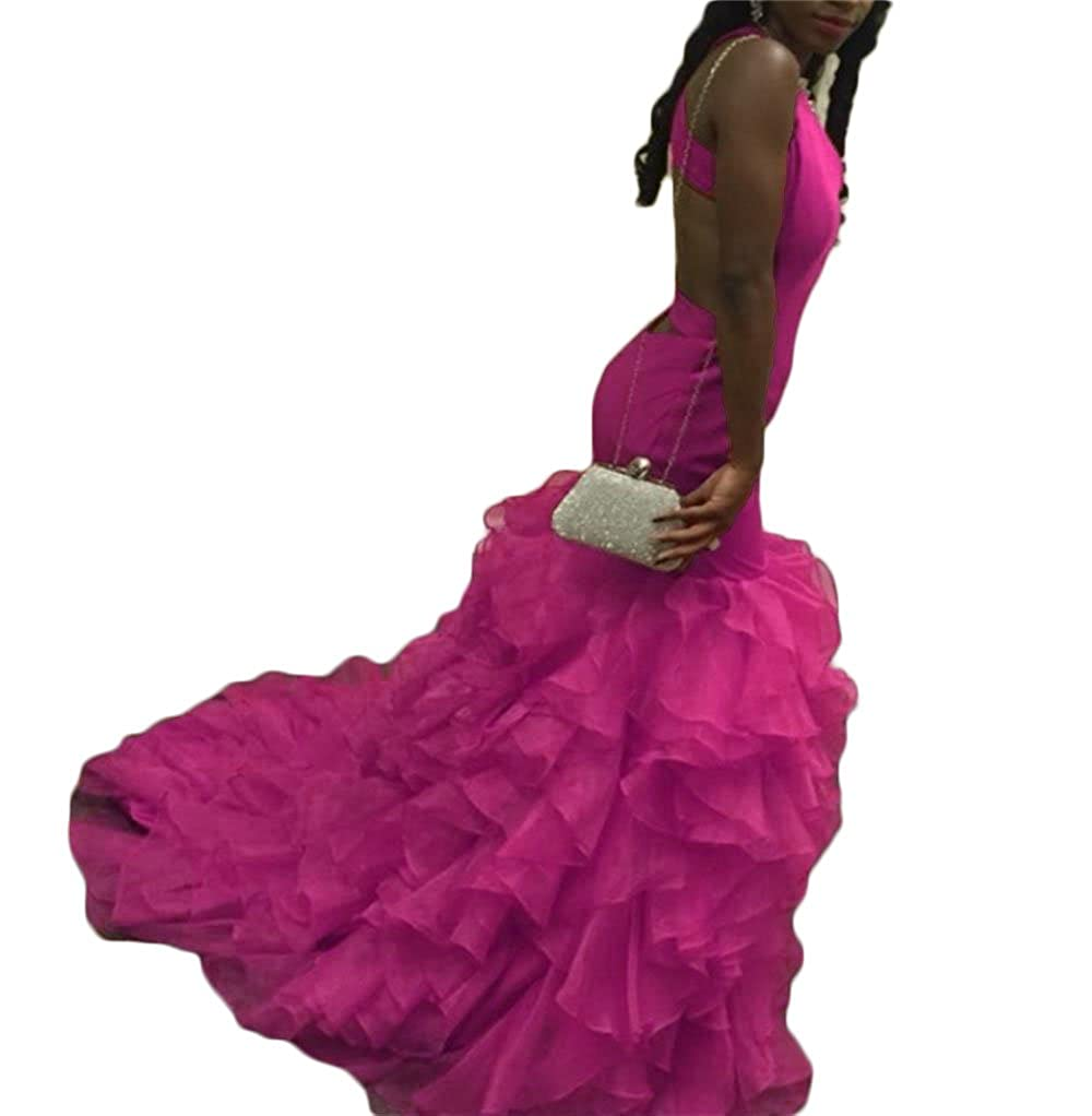 Hot Pink Dydsz Women's Sexy Mermaid Long Prom Party Dresses V Neck Backless Plus Size D28