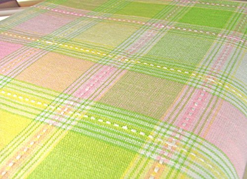 ec-b102 Easter Spring Pastel Plaid 102 x 60 Tablecloth Fresh Green Pink Yellow White