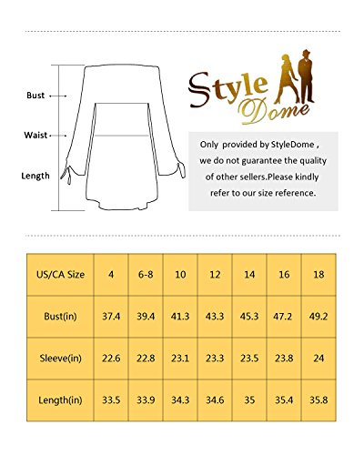 StyleDome Women Strapless Off Shoulder Elegant Tie Long Sleeve Party Loose Tops Irregular Sexy Mini Dress Black US 12 by StyleDome (Image #7)