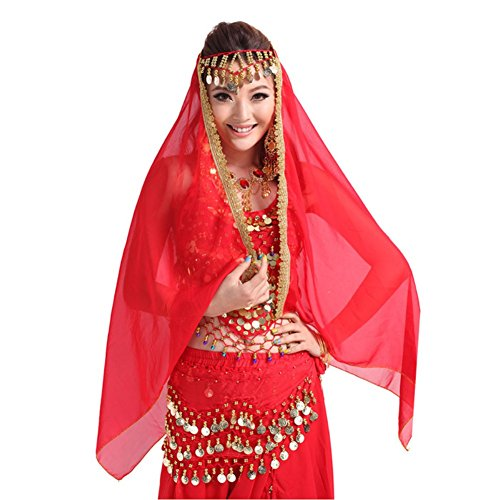 [ESHOO Women Belly Dancewear Costume Multi-Colors Gold Coin Decor Chiffon Headscarf] (Gypsy Costume Head Scarf)
