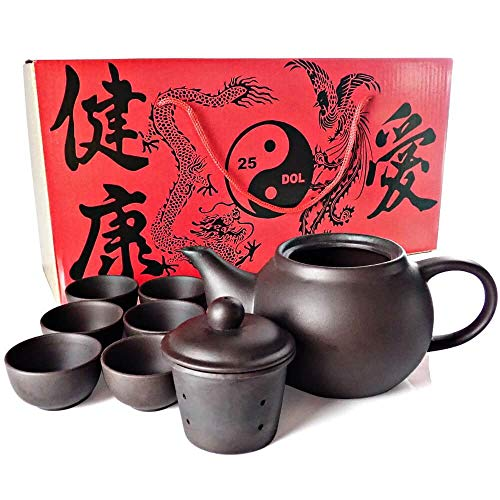 (25DOL Sipping Tea Set 9 Pieces made with Premium Quality Chinese Yixing Purple Clay - Teapot