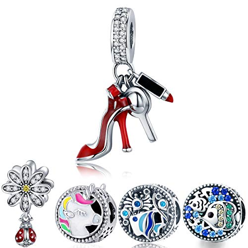 WOSTU Women Red High Heel Shoe and Lipstick Charms Dangle Charms Crystal Beads for Bracelets