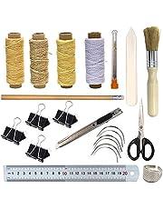 Bookbinding Kits, 17 pcs Bookbinding Supplies,A Necessity Book Binding Starter Kit Real Bone Folder, Large-eye Needles,Glue Brushes, Scissors, Steel Ruler Wax Thread
