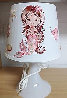 ✿Tischlampe ✿ Meerjungfrau Mermaid 2 Mädchen Schwanzflosse ✿ Schlummerlicht ✿ Nachttischlampe brünett
