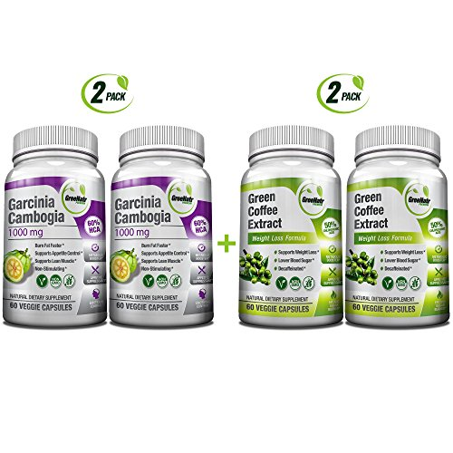 All-in-One Weight Diet Loss Pills & Appetite Suppressant Bundle w/Pure Green Coffee Bean Extract + Garcinia Cambogia Extract | Blocks Fat, Sugar, Carbs - 240 Veggie Capsules - Gluten Free & Non GMO