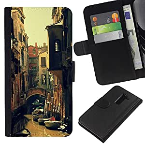 KLONGSHOP // Tirón de la caja Cartera de cuero con ranuras para tarjetas - Kondola River Street Summer Sun - LG G2 D800 //
