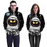 Farjing Lovers Scary Halloween Pumpkin Grimace 3D Print Party Hoodie Top Sweatshirt(L,Black )