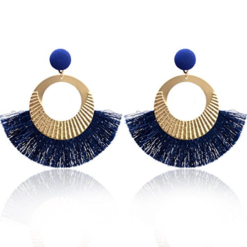 Hot Sale! Paymenow Women Girls Vintage Ethnic Tassel Circle Drop Earrings Fashion Stud Earrings Dangle Jewelry (Blue)