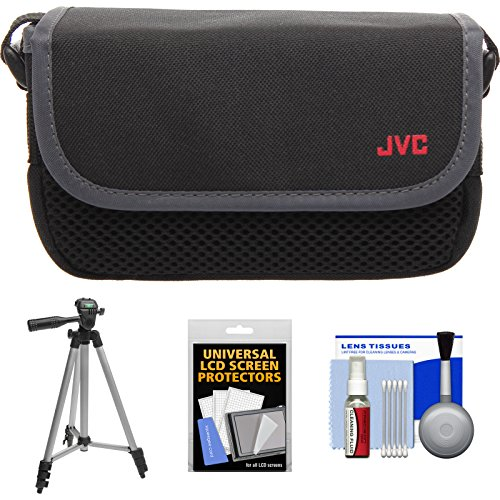 JVC CBV2013 Everio Video Camera Camcorder Case with Tripod + LCD Screen Protectors + Accessory Kit for GZ-E100, E300, E505, EX310, EX355, EX515, EX550, R10, R30, - Tripod E300