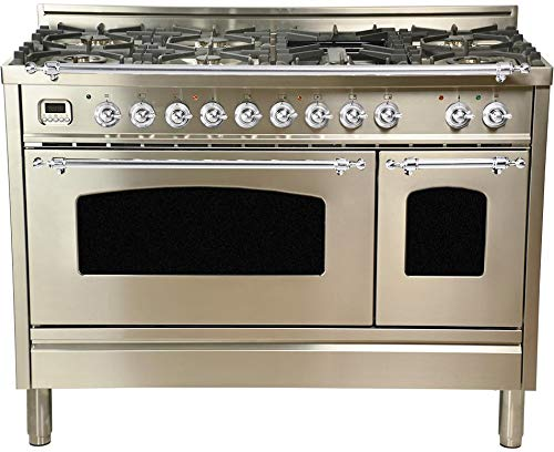Ilve UPN120FDMPIX 48″ Dual Fuel Natural Gas Range with 7 Sealed Burners,with Chrome Trim, in Stainless Steel