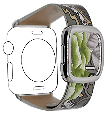 JSGJMY Apple Watch Band 38mm Genuine Leather Loop with Metal Clasp for iWatch Series 2/Series 1/Edition/Sport (Flower Print-2)