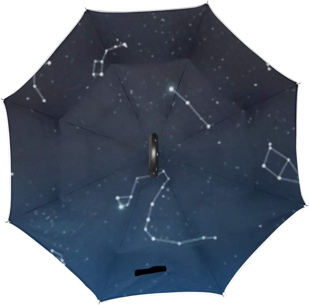 Double Layer Inverted Inverted Umbrella Is Light And Sturdy Astrology Horoscope Universe Background Set Famous Reverse Umbrella And Windproof Umbrell