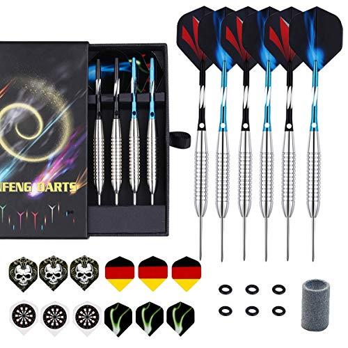 (sanfeng Darts Steel Tip Set - 24 Grams 6 Pack with Black Blue Aluminum Shafts 45mm + Anti-Lose Rubber Rings + 18 Flights + Dart Sharpener + Premium Case)