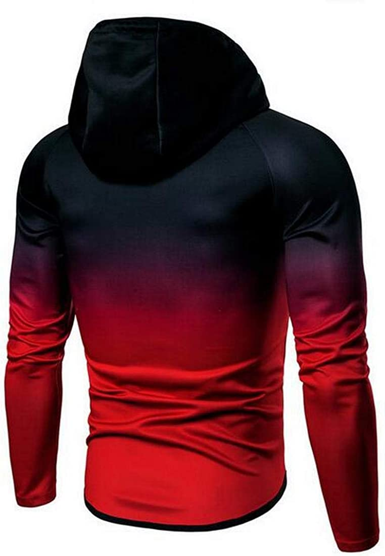 Mstyle Mens Casual Activewear Gradient Color Zip Front Plus Size Hoodie Hooded Sweatshirt Coat Jacket