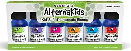 AlternaKids Aromatherapy Essential Oils Set from Essenzia | Essential Oils for Children Health Set of 6 / 10ml bottles | 100% Pure Essential Oils, Undiluted, Therapeutic Grade Kid Safe Synergies