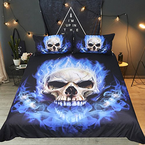 Sleepwsih Blue Skull Fire Duvet Cover Set 3 Pieces Skeleton Bedding Tribal Bedding Set Print Black and Blue Ghost Bed Set (Queen)